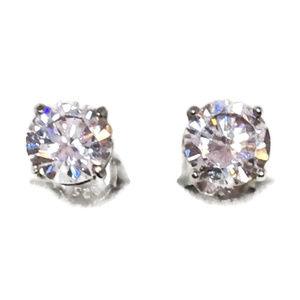 white gold on silver studs earring large round cz